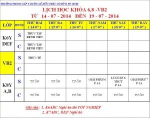 Lịch Học K6,8,VB2 - 14.07 - 19.07.2014
