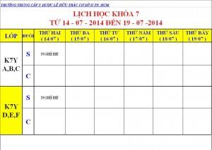 Lịch Học K7 - 14.07 - 19.07.2014