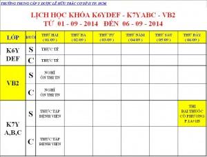 Lịch Học K6Y, K7Y, K8Y & Dược VB2 Từ ngày 01/09 – 06/09/2014 Cơ sở 2 – TP. HCM