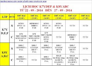 Lịch Học K6Y, K7Y, K8Y & Dược VB2 Từ ngày 20/09 – 27/09/2014 Cơ sở 2 – TP. HCM
