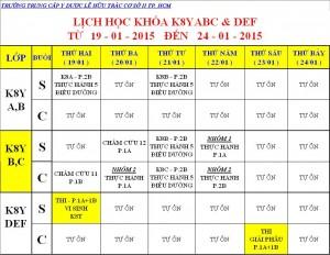Lịch Học K7Y, K8Y, VB2 Từ ngày 19/01 – 24/01/2015 Cơ sở 2 – TP. HCM