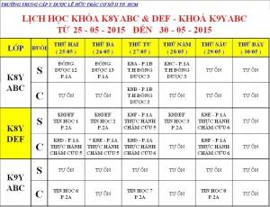 Lịch Học K7Y, K8Y, VB2 Từ ngày 25/05 – 30/05/2015 Cơ sở 2 – TP. HCM