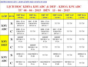 Lịch Học K7Y, K8Y, K9Y, VB2 Từ ngày 08/06 – 13/06/2015 Cơ sở 2 – TP. HCM