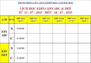 Lịch Học K7Y, K8Y, K9Y, VB2 Từ ngày 13/07 – 18/07/2015 Cơ sở 2 – TP. HCM