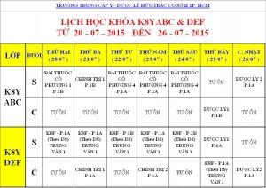 Lịch Học K7Y, K8Y, K9Y, VB2 Từ ngày 20/07 – 26/07/2015 Cơ sở 2 – TP. HCM