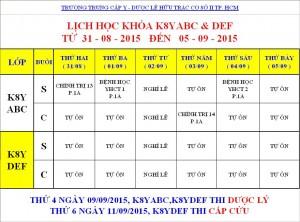 Lịch Học K7Y, K8Y, K9Y, VB2 Từ ngày 31/08 – 05/09/2015 Cơ sở 2 – TP. HCM
