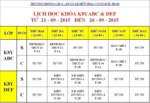 Lịch Học K7Y, K8Y, K9Y, VB2 Từ ngày 21/09 – 26/09/2015 Cơ sở 2 – TP. HCM