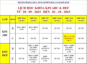 Lịch Học K7Y, K8Y, K9Y, VB2 Từ ngày 28/09 – 03/10/2015 Cơ sở 2 – TP. HCM