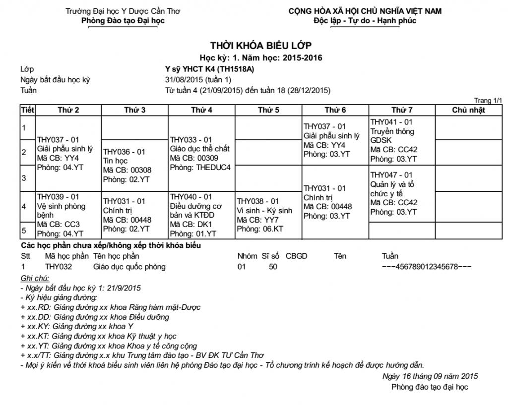 Thời khóa biểu lớp Y sĩ YHCT K4 Cần Thơ Học kì 1 (21/09/2015 đến tuần 28/12/2015)